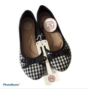 SO Black Gingham Boat Ballet Flats New